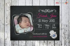 Birth Announcement Printable Customized Chalkboard door nhlcards