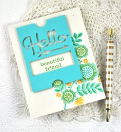Hello Beautiful Friend Card by Dawn McVey for Papertrey Ink (April 2014)