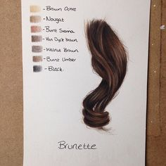 Dark brown hair using colored pencils #artsketches
