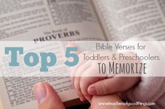 Parenting with scripture is an easy way to help your toddlers and preschoolers grow in the character that you desire them. Top 5 Bible Verses for Toddlers and Preschoolers to Memorize | www.teachersofgoodthings.com