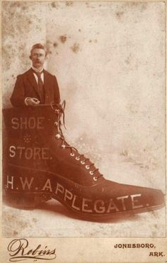 Cabinet Card advert for H. W. Applegate's Shoe Store in Jonesboro, Arkansas