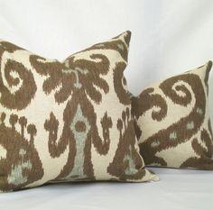 Ikat chocolate brown and aqua pillows