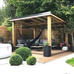 Hot Tub Pergola, Backyard Gazebo, Backyard Patio Designs, Pergola Patio, Backyard Landscaping, Back Gardens, Outdoor Gardens, Back Garden Design, Backyard Makeover