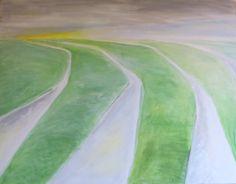 maart 2015 | 70x90cm | oil on canvas | 4 sloten | 4 ditches | www.lotjemeijknecht.nl #ditch #lowland #green #landscape #painting #water