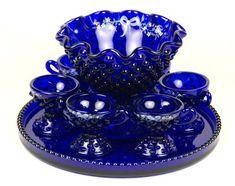Fenton Glass Royal Blue Hobnail Miniature Punch Set Doris Lechler Ruth Series | eBay Cobalt Glass, Red Glass, Cobalt Blue, Glass Art, Fenton Glassware, Antique Glassware, Punch Bowl Set, Crazy Colour, Carnival Glass
