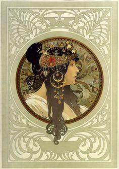 Mucha alphonse (1860-1939) - medaglione (3) - fotografia cm. 18 x 13