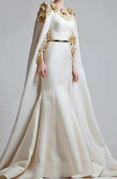 Modest Zuhair Murad 2019 Gold Appliques Satin Mermaid Dress Evening Wear With Wrap Sweep Train Saudi Arabic Evening Dresses Style Haute Couture, Couture Fashion, Couture Bridal, Fashion Fashion, High Fashion, Beautiful Gowns, Beautiful Outfits, Beautiful Bride, Evening Dresses