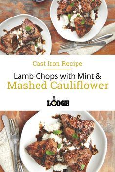"""Thick lamb loin chops prepared with mint, garlic, and balsamic vinegar served over a bed of cauliflower """"mashed potatoes."""" Mint is a classic pairing with lamb, but this recipe also includes garlic, creating a fuller flavor. For those who find the use of mint jelly when cooking lamb overwhelming, the combination of fresh mint and garlic provides a welcome and light alternative. Serve this dish over cauliflower """"mashed potatoes"""" for a light and tasty meal."""