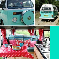 Camper Van vw sea green polka dot interior
