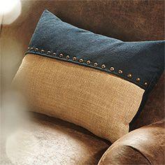 Banks Denim Jute Rectangular Pillow