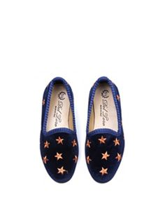 Del Toro Children's Navy Slippers With Gold Star Embroidery