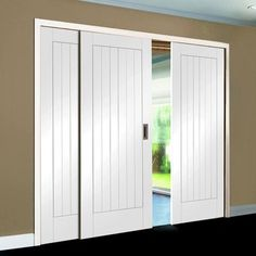 A free delivery is standard, these Easi-Slide Suffolk white primed sliding doors incorporating a frame and track set with fixed side insets, the centre door can slide left or right. #freedelivery #directdoors