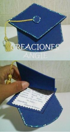 Invitación graduación :) Graduation Crafts, Graduation Day, Easy Crafts To Make, Crafts For Kids, Graduation Cupcake Toppers, Diy Shows, Graduation Celebration, Art N Craft, School Decorations