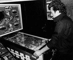 Joe Strummer of the Clash playing a Bally Black Jack pinball.  http://dangerousminds.net
