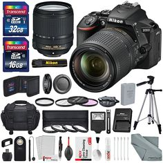 Nikon D5600 DSLR Camera with NIKKOR 18-55mm + 70-300mm Lenses W/ 2x 32GB Memory Card + Digital Slave Flash + Filters, Telephoto & Wideangle Lens, Xpix Lens Accessories with Deluxe Bundle