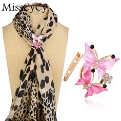 MissCyCy Color del Oro de Lujo de Cristal Mariposa Clip Fular Rhinestone Broches Para Las Mujeres Pin de La Boda