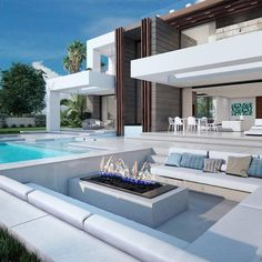 modern Malaga villa � Includes 4 bathrooms and 4 bedrooms! Dream Home Design, Modern House Design, Contemporary Design, Modern Architecture House, Architecture Design, Luxury Homes Dream Houses, Modern Mansion, Dream House Exterior, Cottage Exterior