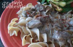 Creatively Domestic: Slow Cooker Crock pot Beef Stroganoff