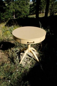 Vintage Round Mersman Blond Drum Table With Drawer Wood End Table Side…