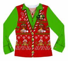 Faux Real Women's Ugly Xmas Sweater Vest Long Sleeve T-Shirt  Multi  Medium