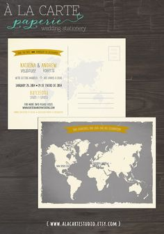 Map Style Bilingual Wedding Save the Date Card - World map Grey and Yellow colors - international couple wedding invitation grey chalk color