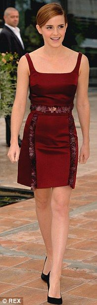Emma Watson in an aubergine Christopher Kane dress and pointy-toe pumps. #celebrity #streetstyle