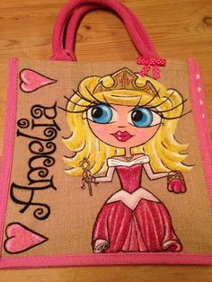 hand painted personalised Princess Pink Dot jute bags Child