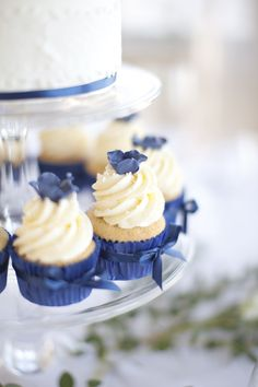 little devils! so pretty, I like the colour Navy Cupcakes, Blue Wedding Cupcakes, Floral Wedding Cakes, Sweet Cupcakes, Fall Wedding Cakes, Mini Cupcakes, Wedding Flowers, Paper Cupcake, Cupcake Cakes