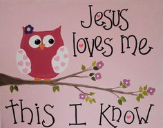 11 x 14 Original Acrylic Painting - Art - Childrens Art - Canvas - Scripture - Jesus Loves Me
