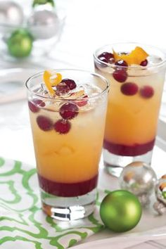 Sparkling Holiday Mimosa 1/4 C. fresh orange juice, chilled 1 oz Amaretto 11/2 oz vanilla-flavored vodka Cranberry Simple Syrup  Ice cubes 1/4 cup frozen cranberries 1/4 cup chilled sparkling wine* Garnish: orange zest twist    In a cocktail shaker, combine orange juice, amaretto, and vodka. Stir to combine. Pour about 11/2 tablespoons Cranberry Simple Syrup into a chilled glass filled with ice. Add orange juice mixture. Add frozen cranberries, then add sparkling wine.