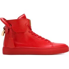 Buscemi 125mm Sneakers ($755) ❤ liked on Polyvore featuring men's fashion, men's shoes, men's sneakers, shoes, red, mens sneakers, mens red leather shoes, mens red sneakers, mens leather shoes and mens shoes
