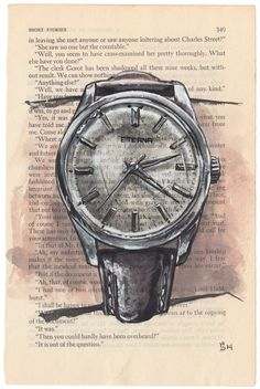 Watches Project About 100 Watches Book Newspaper Painting, Paper Collage Art, Disney Silhouettes, Watch Blog, Old Watches, Colorful Drawings, Fantasy Artwork, Print Pictures, Poster Prints