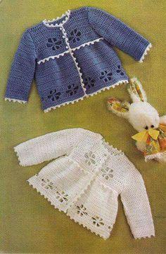 Vintage crochet pattern pretty matinee coat by TheVintageWorkbox Crochet Baby Sweaters, Crochet Baby Clothes, Baby Knitting, Vintage Crochet Patterns, Baby Patterns, Knitting Patterns, Coat Patterns, Vintage Knitting, Crochet Girls