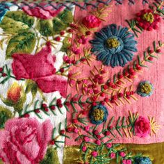 Detail - Cushion Vintage Fabrics, Velvet and embroidery.  Teresa Searle 2016
