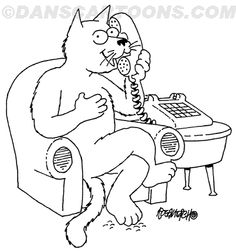 Feline is relaxing in a chair and gossiping on the telephone talking about something