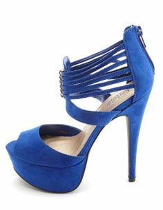 Strappy Ankle Cuff Platform Heels: Charlotte Russe