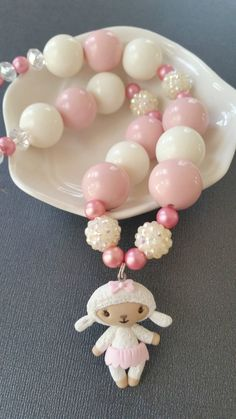Lambie necklace, Doc McStuffins necklace, polymer clay pendant, pink and pearl… Disney Birthday, Frozen Birthday Party, 3rd Birthday Parties, 2nd Birthday, Birthday Ideas, Toy Story Party, Toy Story Birthday, Minnie Mouse Party, Mouse Parties