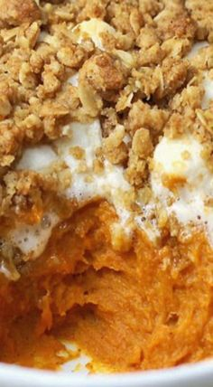 Boston Market Sweet Potato Casserole Copycat Recipe ~ Rich sweet potatoes covered in marshmallow and brown sugar streusel topping are a side dish to remember.