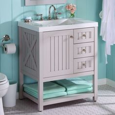 Martha Stewart Living's Seal Harbor vanity has a country-style design and sharkey gray finish.