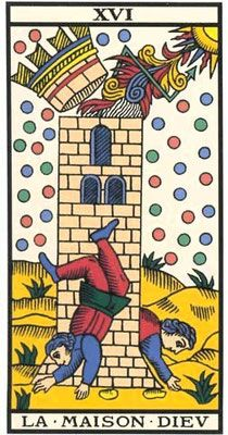 """Découvrez l'interprétation de """"La Maison Dieu"""" du Tarot de Marseille sur apprendre-tarotdemarseille.com. La maison dieu : Seizième arcane majeur."""