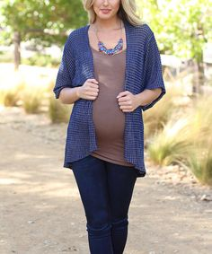 This Blue & Gold Grid Maternity Open Cardigan by PinkBlush Maternity is perfect! #zulilyfinds