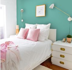 Create colorful contrast behind your bed to help brighten your room and add your own personal style for an updated look. Home Bedroom, Bedroom Decor, Bedroom Ideas, Best Bedroom Paint Colors, Trending Paint Colors, Pretty Bedroom, Guest Bedrooms, Kid Beds, Beautiful Bedrooms