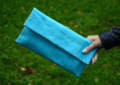 Genuine python leather clutch sky blue height by OkeanaAccessories