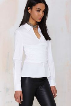 Nasty Gal Front & Center White Blouse