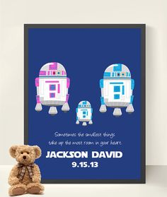 Persoanlized New Baby Star Wars Kids Art Boy by StarWarsPrintShop, $20.00  Me, Dad, Cosette, Mama Chelle, and Aibhlinn