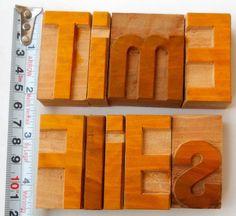 "Nicely Hand Craft Letterpress Time Flies Wood Type Printers Block typography 2"""