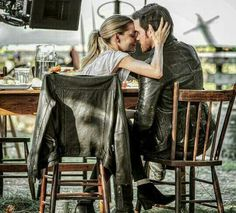 JMo and Colin O'Donoghue. Bts form OUAT