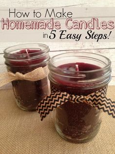 How to Make Homemade Candles in 5 Easy Steps! Easy Christmas Craft and Decorations! Also makes good DIY Christmas Gifts!
