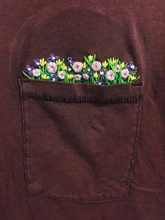 Floral Hand Embroidered Pocket Detail T-Shirt by LornaElizabeth