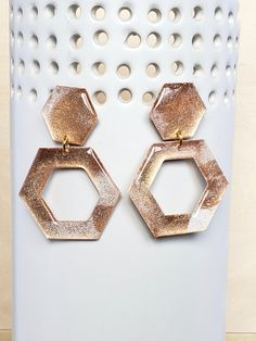 Gold/White Hexagon Alcohol Ink Earrings - Hand Crafted - Gold Plated - Modern - Geometric - Statement Earrings - Jenn Robertson Art Alcohol Ink Jewelry, Hexagon Shape, Red Gold, Statement Earrings, Red Roses, Craft Supplies, Handmade Items, Plating, Hand Painted